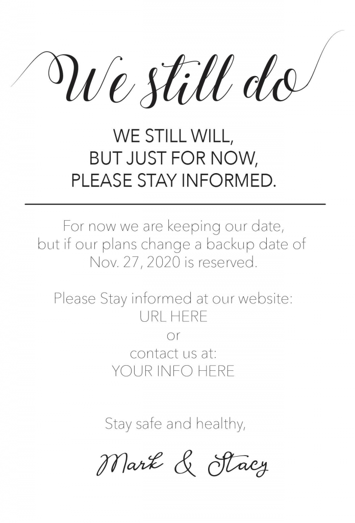 websites and updates on wedding cards