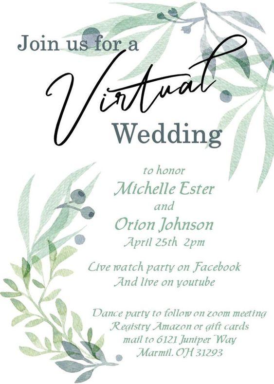 virtual Covid wedding invitation