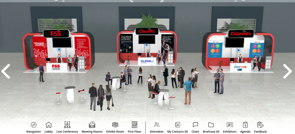 Exhibition stalls of the virtual event platform