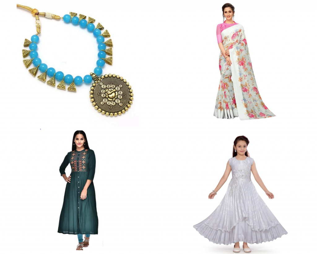 Local products for Kurti, jewelry, saarees and girls fashion