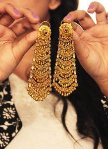 Chandelier Bridal Earrings Gold