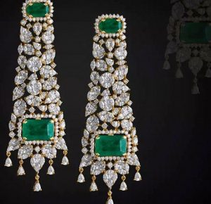 drop Bridal Earrings with emeralds