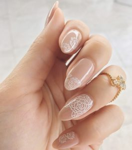 Floral Stamped Bridal Nail Art Designs