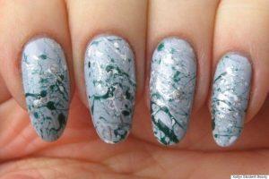 Splatter Bridal Nail Art Designs