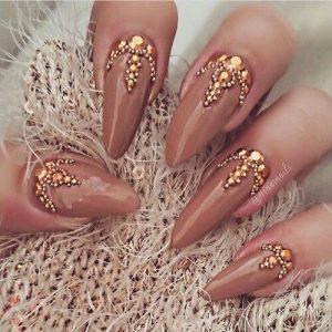 Gem Studded Bridal Nail Art Designs
