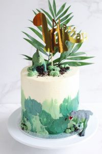 Dinosaur Themed Birthday Party Cake: