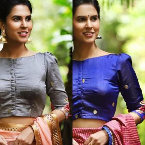 simple bridal blouse designs _puff elbow sleeves blue