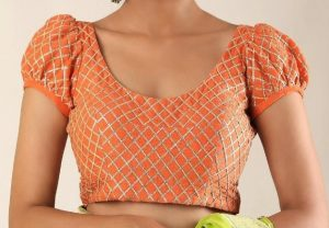 simple bridal blouse design _puff short sleeves