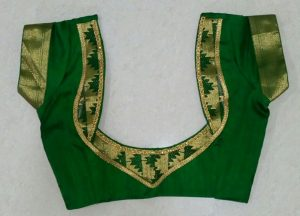 simple bridal blouse designs _short sleeves green