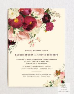 beige and floral wedding card