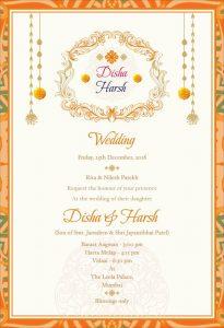 logo orange and yellow wedding card