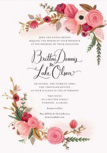 floral wedding card, brides parents hosting
