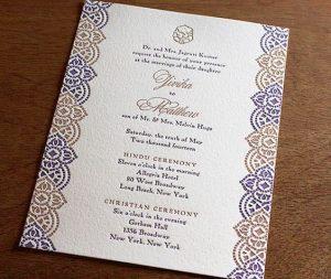 white background, blue and gold wedding invitation
