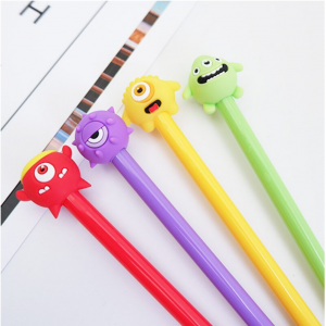 cartoon designer pens of four different characters and colours