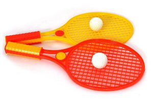 mini racket ball set, yellow and red in colour. one of the best birthday return gift ideas for 100 rs for outdoor games