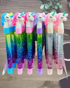 unicorn fancy glitter pens of different colours