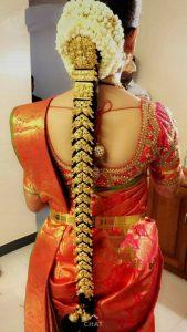 South Indian Bridal Hairstyles_Temple jewlry style bila_jada