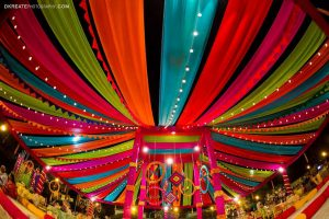 wedding decoration image. decor filled with bright colours and lights