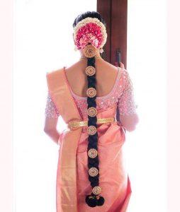 South Indian Bridal Hairstyles_Pink billa_jala