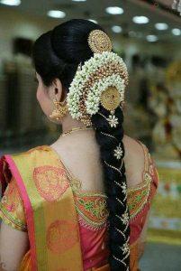 South Indian Bridal Hairstyles_gold chain braid