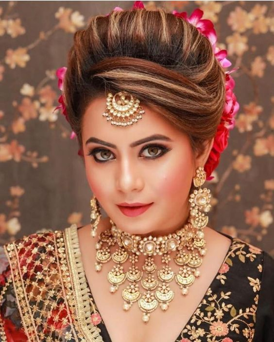 Bridal Hairstyle for Round Face