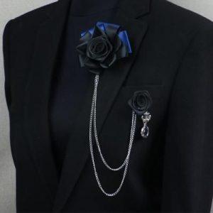 Suit Brooch Black Rose