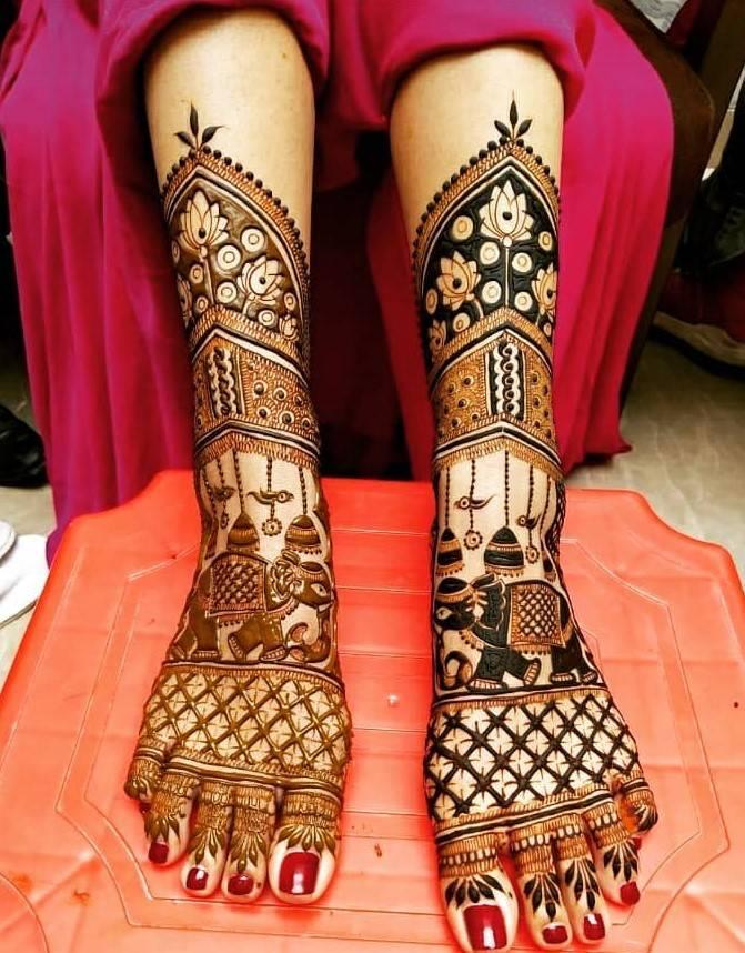 Elephant Motifs Legs Bridal Mehndi