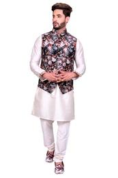 Kurtas for Men - Multi floral off white