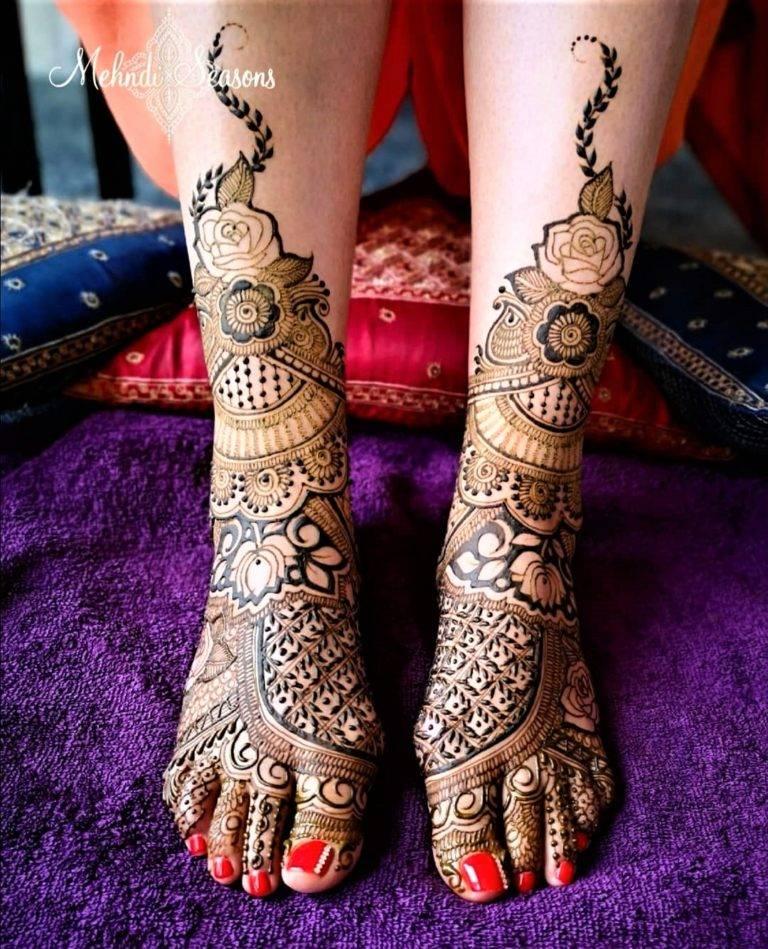 Lotus Motif Full Leg Bridal Mehndi Designs