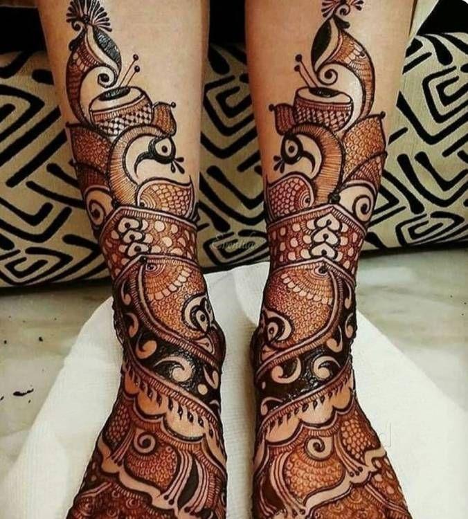 Peacock Bridal Mehndi Designs for Full Legs