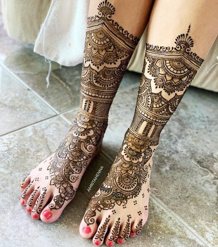 Stylish Leg Mehndi Design Bridal