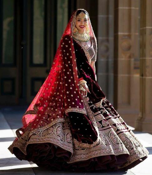 Velvet Wedding Lehenga