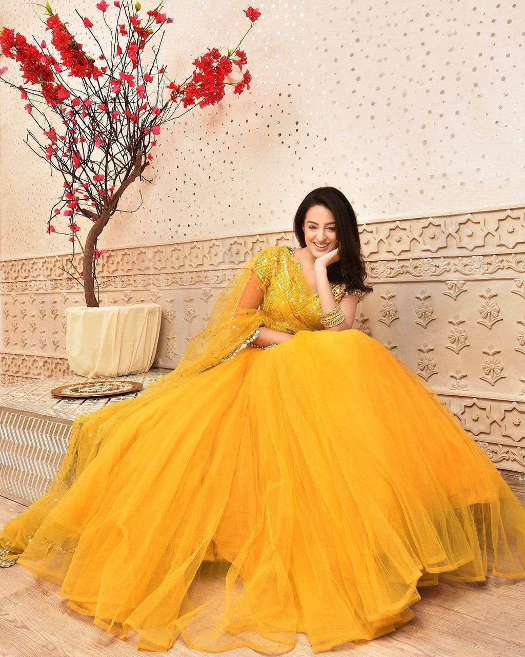 Flared Haldi Dress for Bridal Look