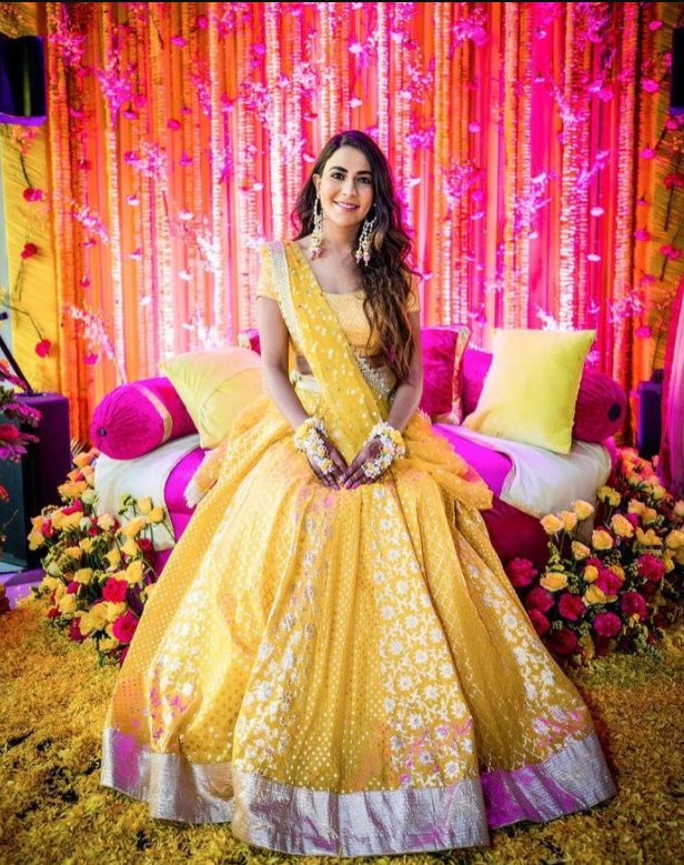 Gorgeous Lehenga with Flowers Haldi Look