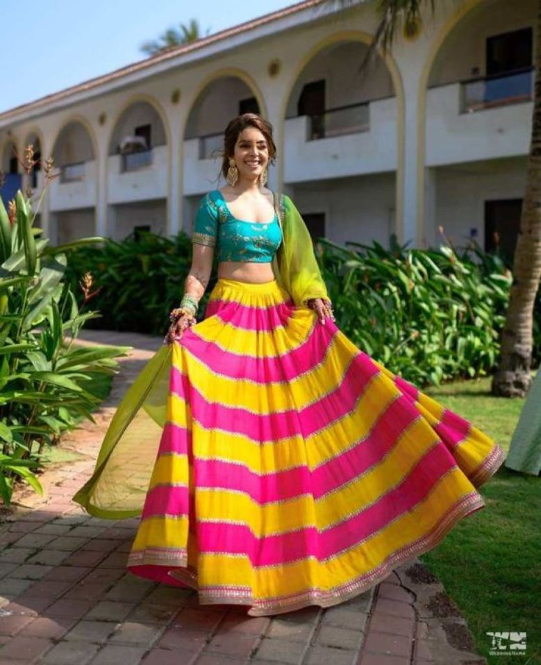Pink Colored Haldi Function Dress