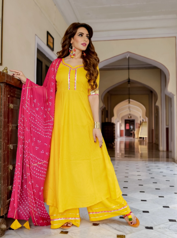 Relaxed Outfit Haldi Function Dress
