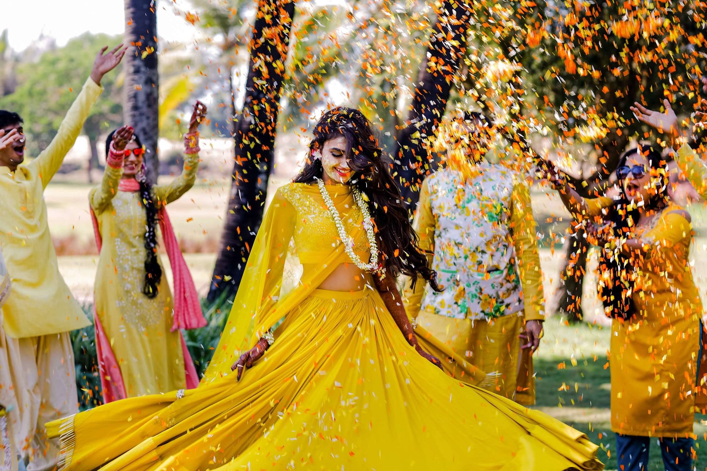 Yellow Haldi Dress for Bride