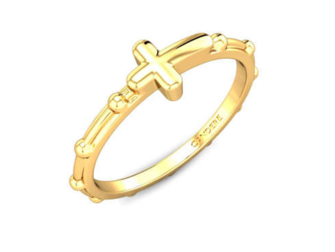 Cross Shaped Gold Ring