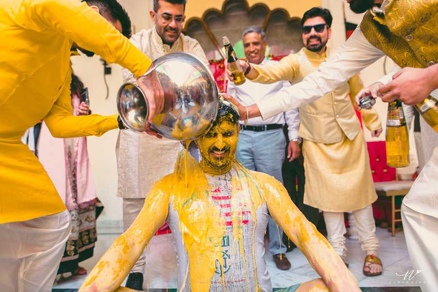A Group Wedding Haldi Pose
