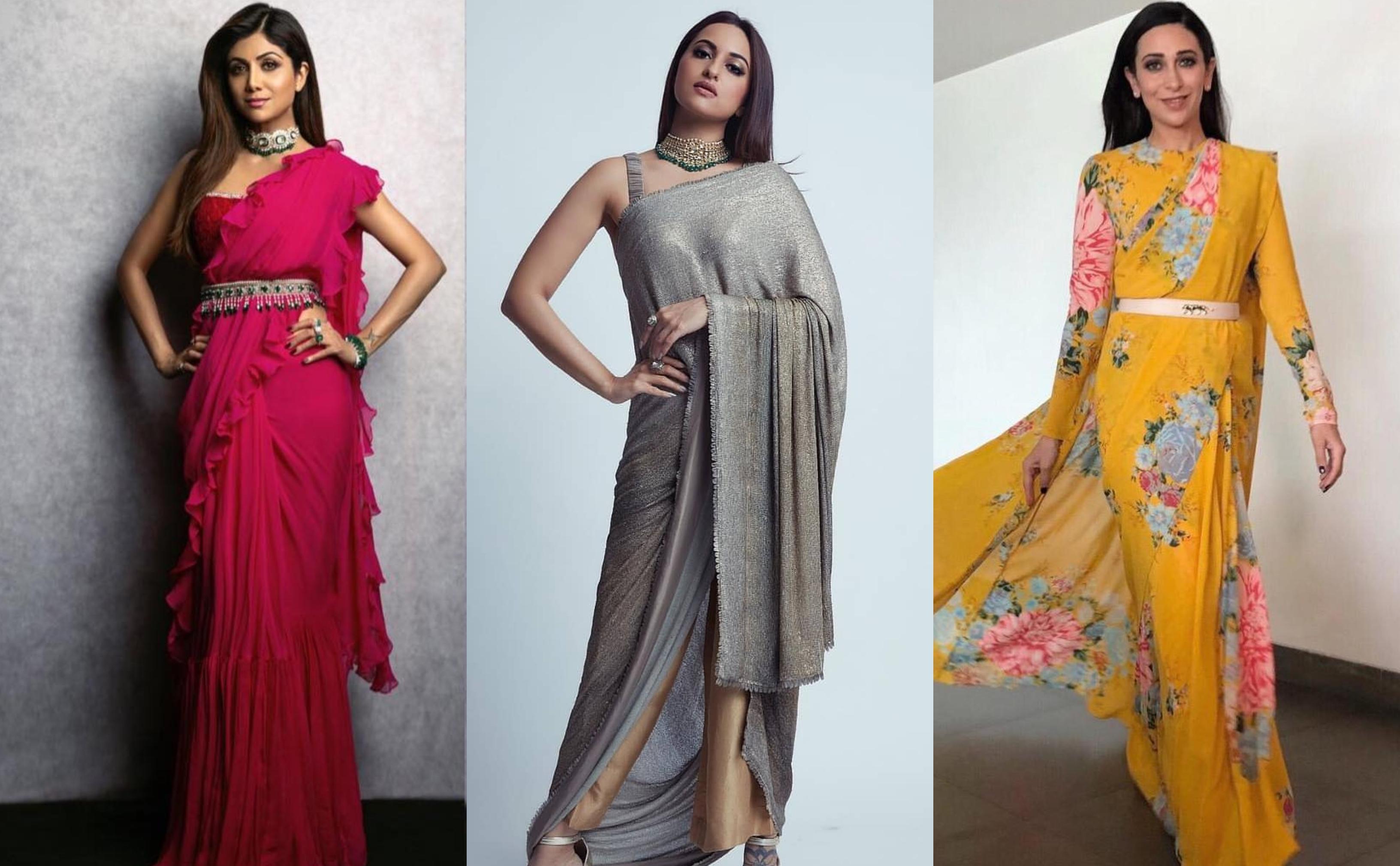 Celebrity Belted Saree Look