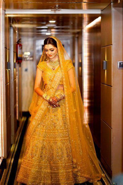 Full Yellow Bridal Lehengas