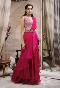Pink Saree with Beautiful Belt