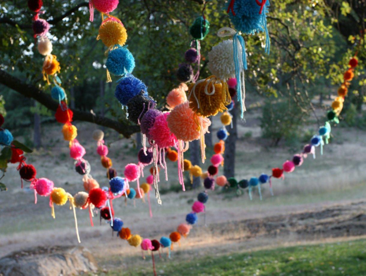 Wool Pom Pom Garland