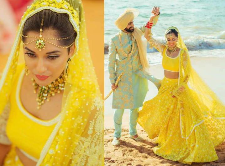 Yellow Color Lehenga on Destination Wedding