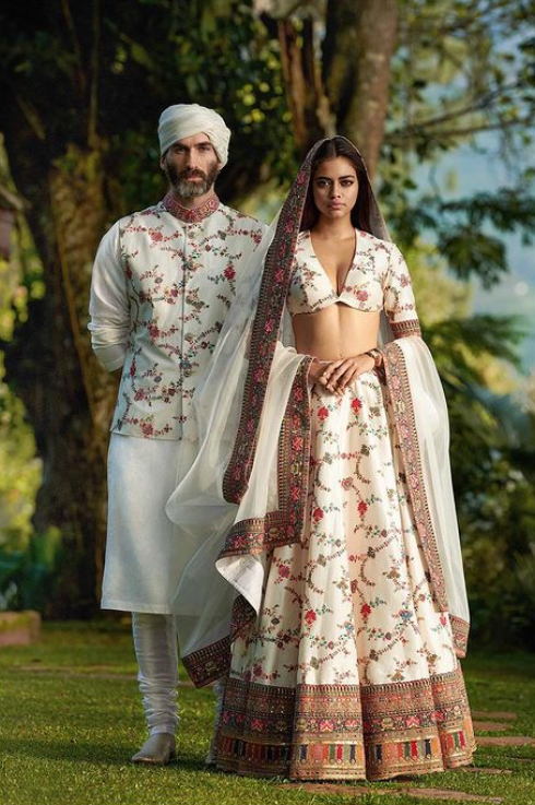 Silk Lehenga with Kashmiri Thread Work