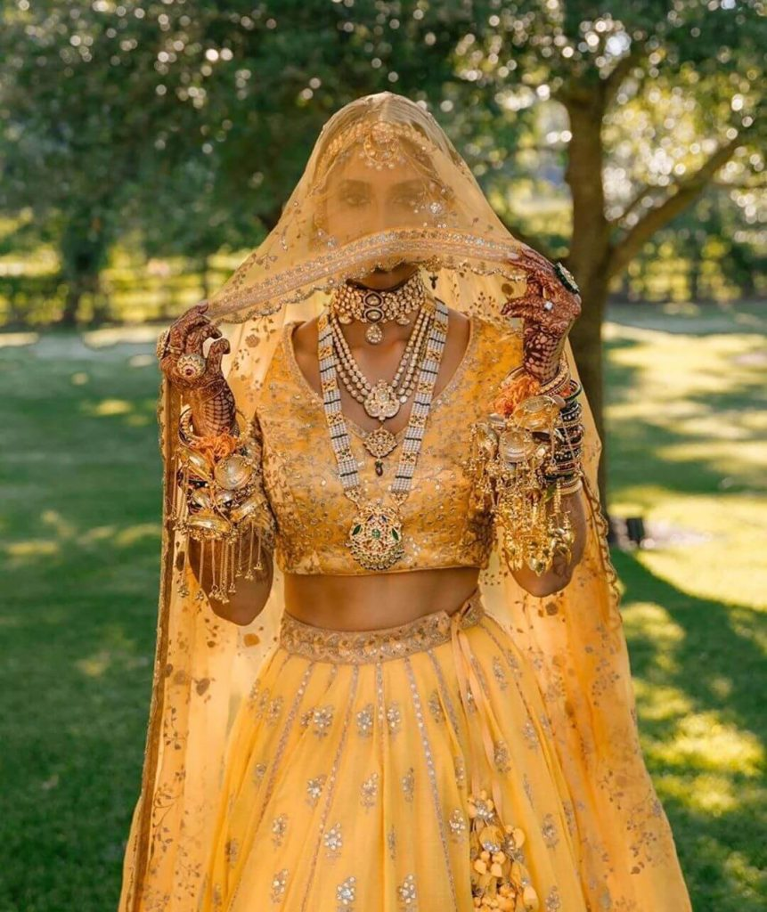 Yellow Bridal Lehengas with Silver Work