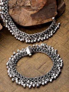 Antique Bridal Anklet Design Silver