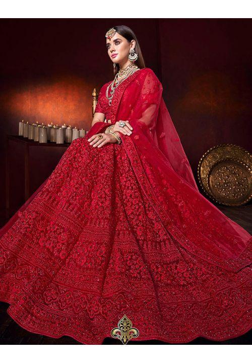 Cherry Red Bridal Lehenga