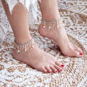 Crystal Beads Anklets Designs for Bride