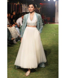 Enakshi Jacket with Crop-Top and Skirt Set